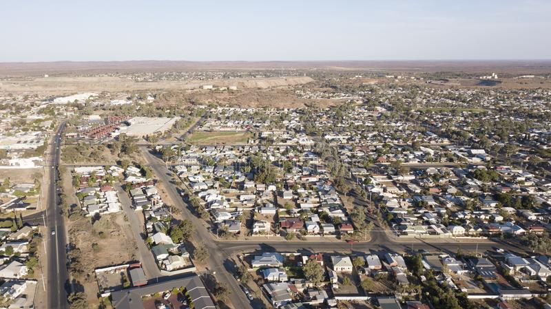 Town of Broken Hill,. Aerial view of the mining town of Broken Hill, NSW royalty free stock photography