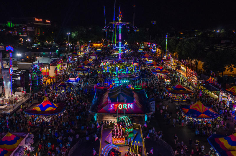 Aerial view of the Minnesota State Fair Midway at night stock photos