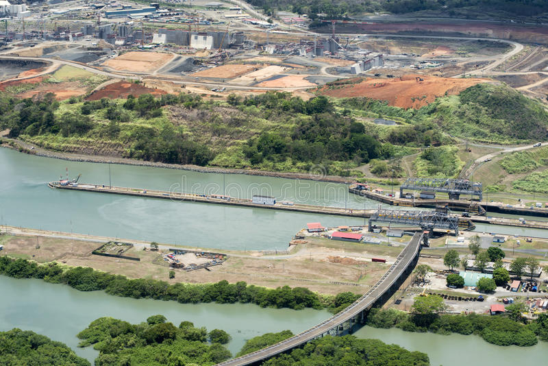 Aerial view of Miraflores locks and the construction of a wider. Channel and second set of locks in the far left, Panama Canal stock images