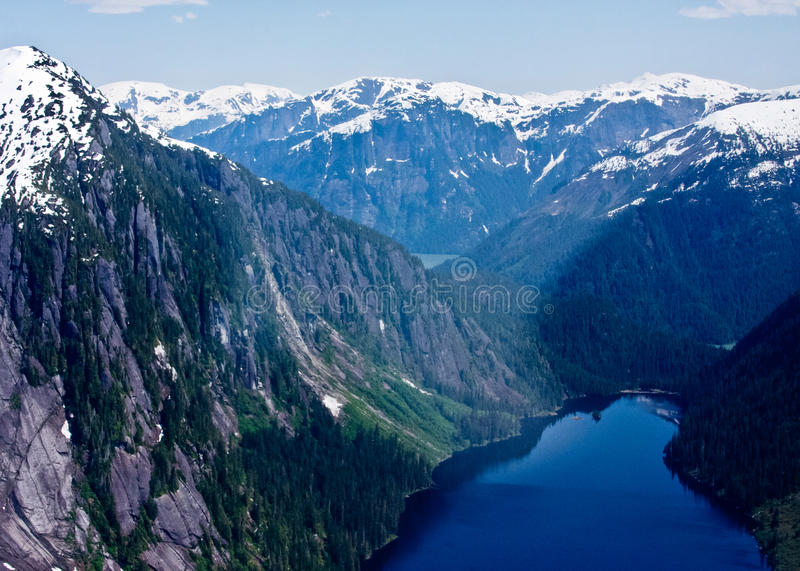 Aerial View of Misty Fjords stock photos