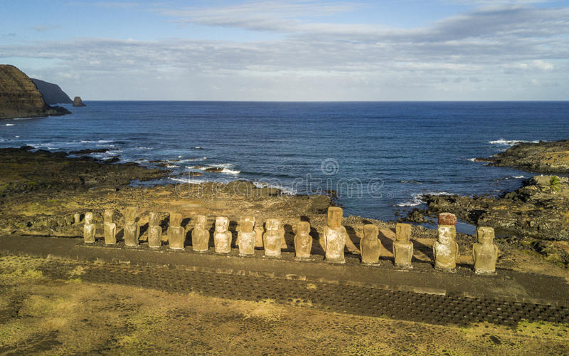 Aerial view of Moai at Ahu Tongariki, Easter Island, Chile royalty free stock image