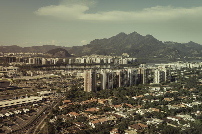 Aerial view of modern Brazilian city stock image
