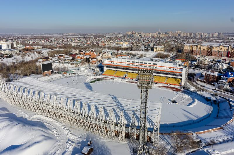 Aerial view of modern city stadium. Tyumen. Russia stock photos