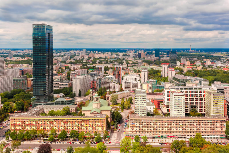 Aerial view of modern city in Warsaw, Poland royalty free stock photography
