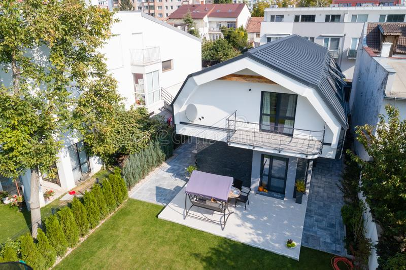 Aerial view of modern house royalty free stock photography