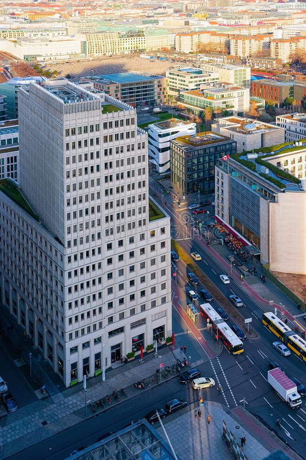 Aerial view on modern office building architecture Potsdamer Platz Berlin stock image