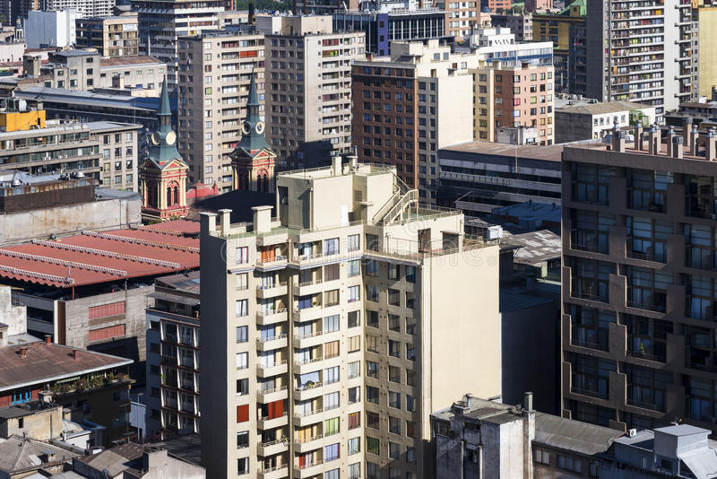 Aerial view of modern and old buildings in the city of Santiago de Chile in Chile, South America royalty free stock photography