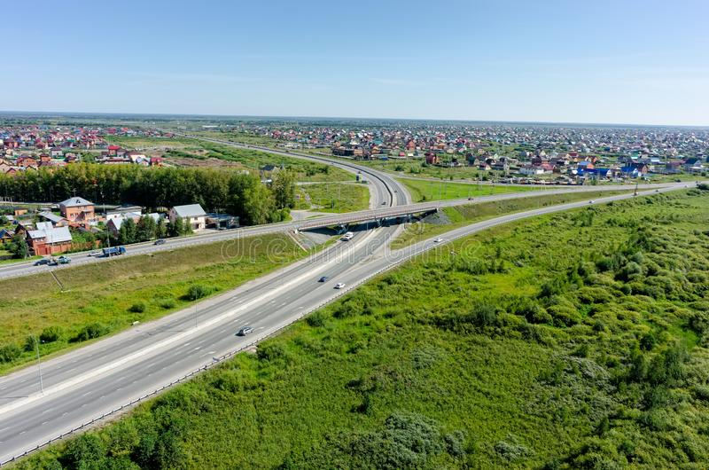 Aerial view of modern roads interchange. Tyumen stock photos
