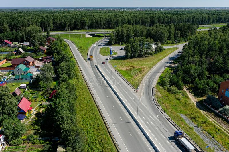 Aerial view of modern roads interchange. Tyumen royalty free stock photography