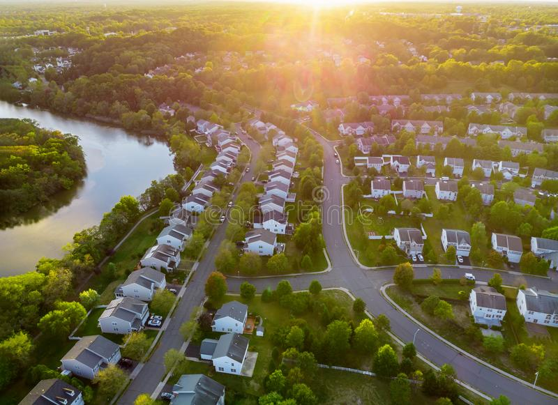Aerial view of modern roofs of houses early sunrise royalty free stock photo