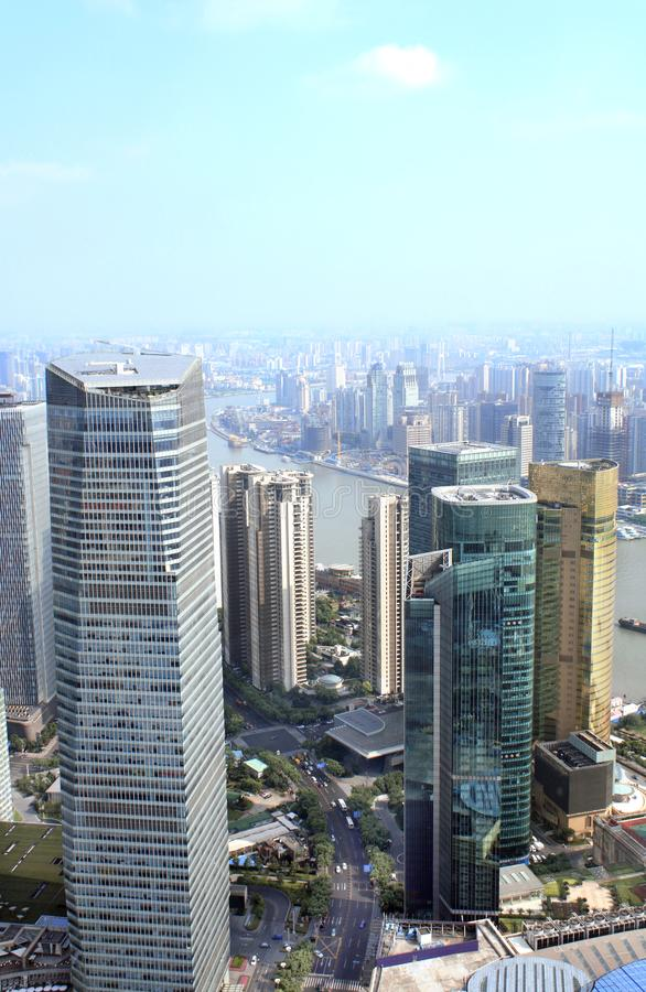 Aerial view on modern skyscrapers, Shanghai, China royalty free stock image