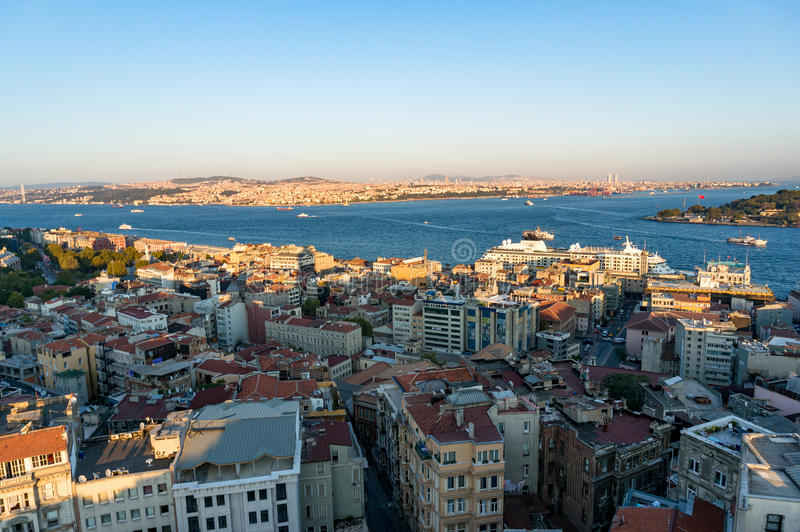 Aerial view of modern transcontinental Istanbul megalopolis city. Aerial view of Istanbul, Turkey. Modern transcontinental megalopolis cityscape at golden hour royalty free stock image