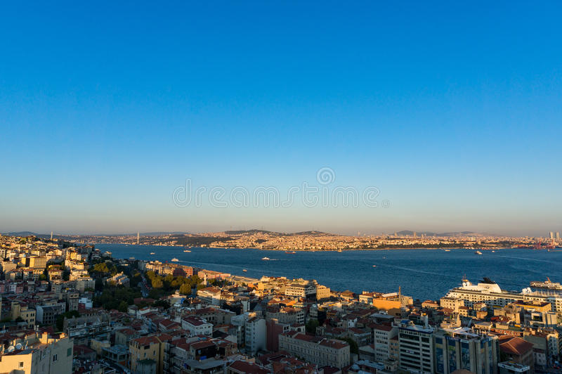 Aerial view of modern transcontinental Istanbul megalopolis. Aerial view of Istanbul, Turkey. Modern transcontinental megalopolis cityscape at golden hour royalty free stock image