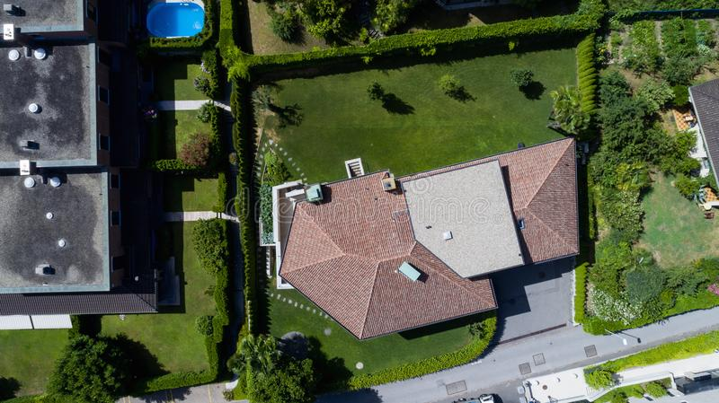 Aerial view of modern villa with large garden royalty free stock photos