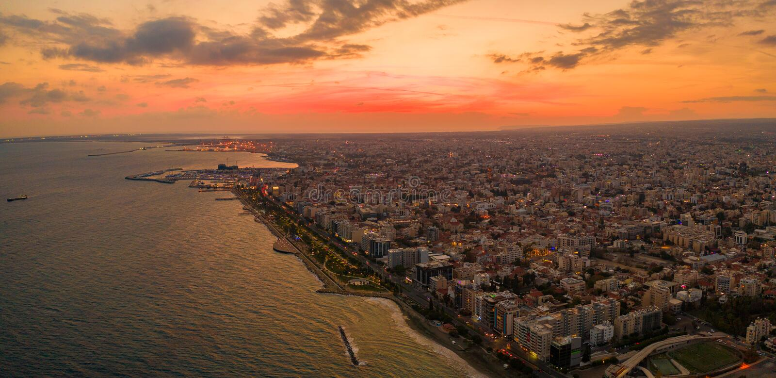 Aerial view of Molos Promenade park on coast of Limassol city centre,Cyprus. stock photography