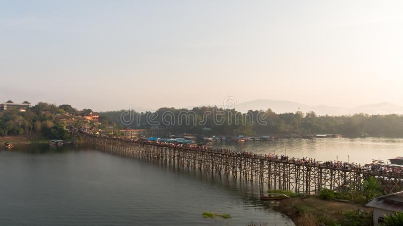 Aerial view of Mon Bridge at Sangkhlaburi. Kanchanaburi. Thailand. Asia stock images