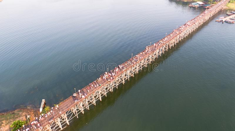 Aerial view of Mon Bridge at Sangkhlaburi. Kanchanaburi. Thailand. Asia stock photos