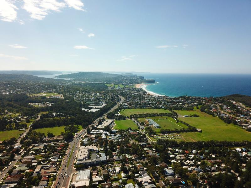 Aerial view of Mona Vale and northern beaches. Coast of Tasman sea in Sydney stock photography