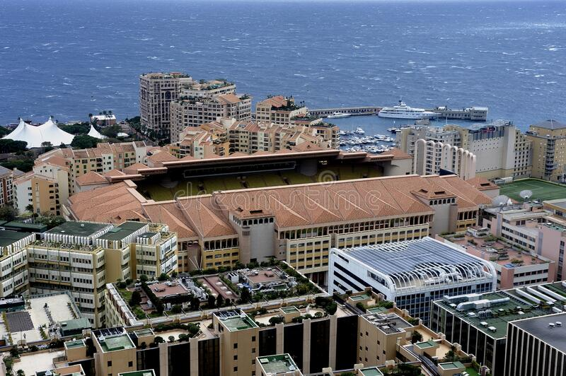 Aerial view of Monaco and the football stadium. From the exotic garden royalty free stock photos