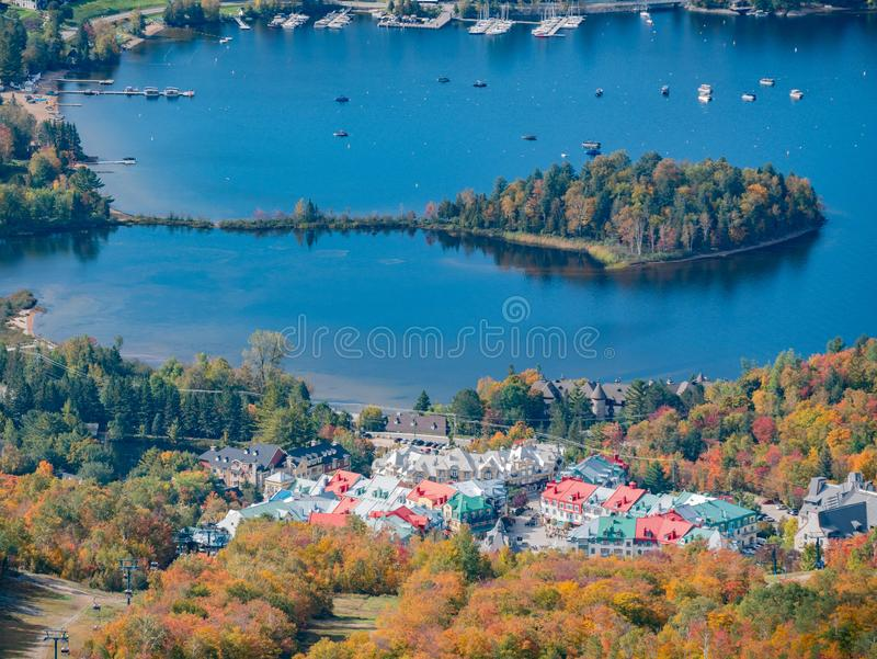 Aerial view of Mont-Tremblant National Park with Lake Tremblant in fall color. At Quebec, Canada royalty free stock photos