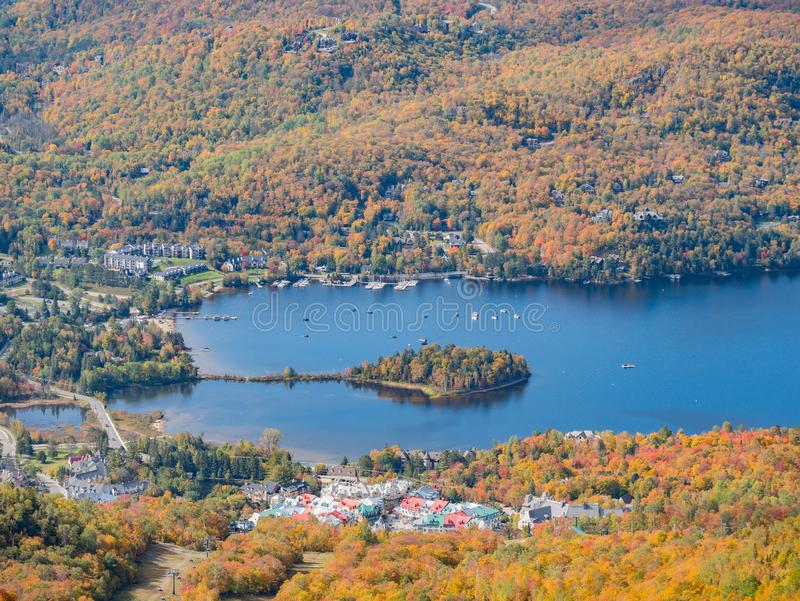 Aerial view of Mont-Tremblant National Park with Lake Tremblant in fall color. At Quebec, Canada royalty free stock photography