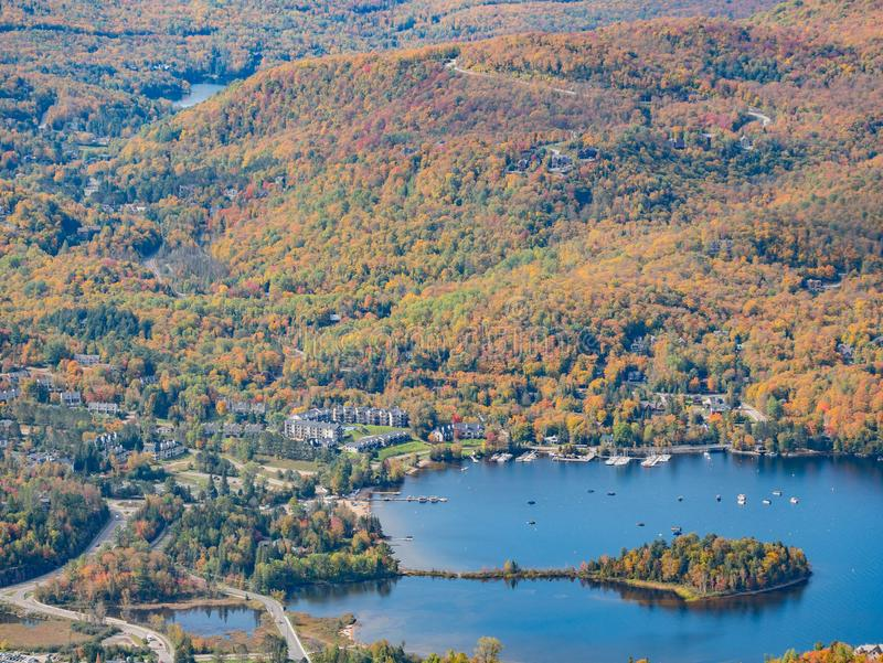 Aerial view of Mont-Tremblant National Park with Lake Tremblant in fall color. At Quebec, Canada stock photography