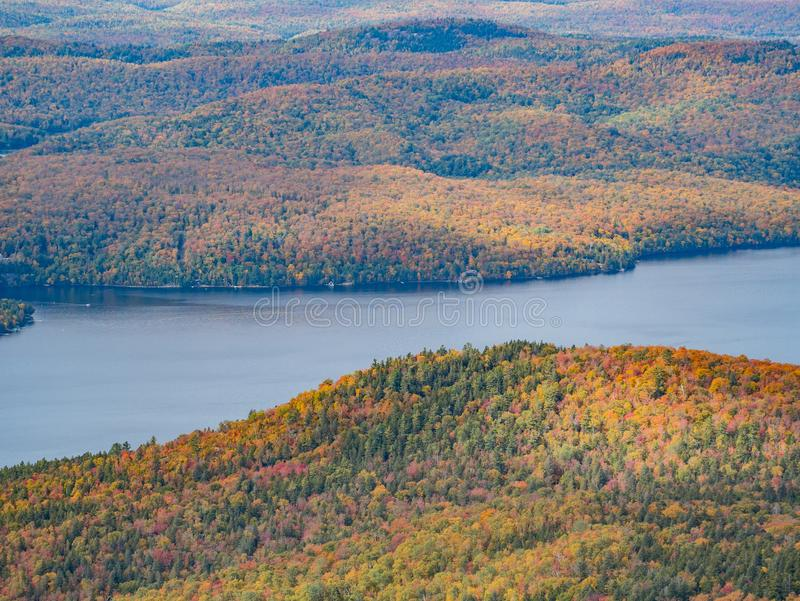Aerial view of Mont-Tremblant National Park with Lake Tremblant in fall color. At Quebec, Canada stock image