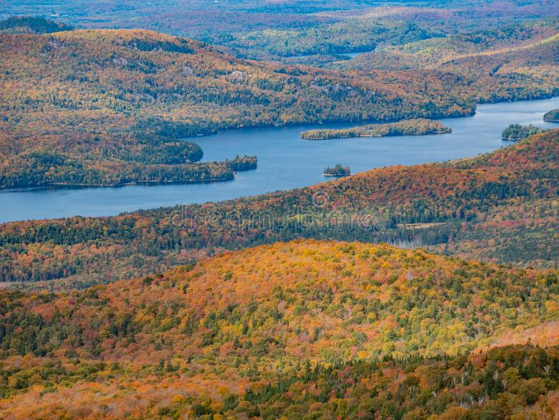 Aerial view of Mont-Tremblant National Park with Lake Tremblant in fall color. At Quebec, Canada royalty free stock image