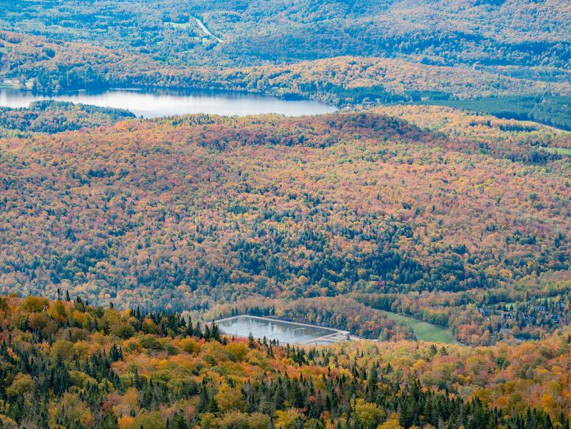 Aerial view of Mont-Tremblant National Park with Lake Tremblant in fall color. At Quebec, Canada stock photos