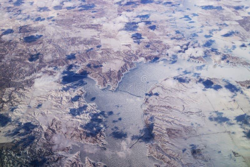 Aerial view of montana lake stock image