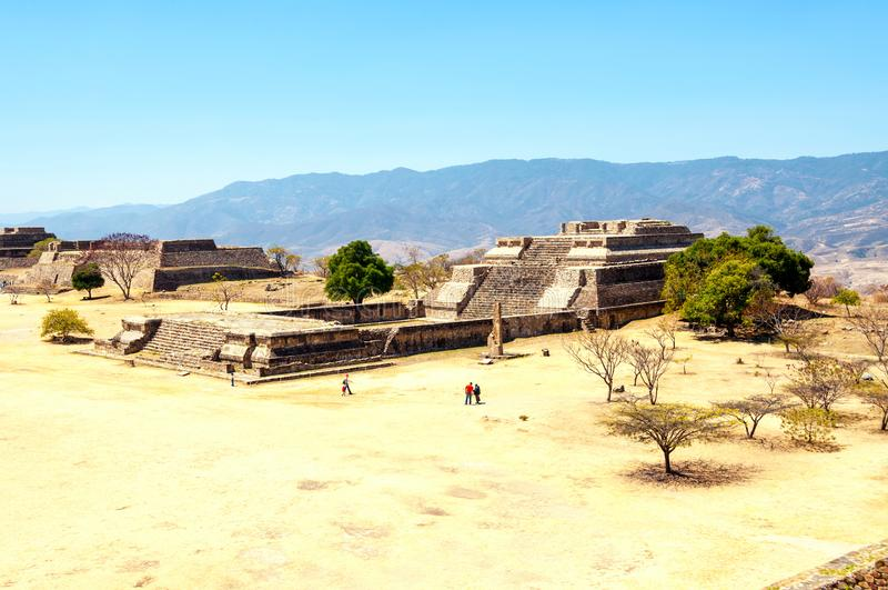 Aerial view of Monte Alban pyramids in Oaxaca, Mexico. Oaxaca, Mexco. Aerial view of Monte Alban pyramids in Oaxaca, Mexico. Famous ruins during a hot sunny day stock photo