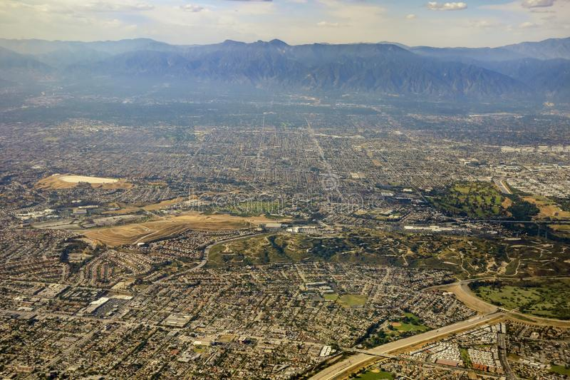 Aerial view of Monterey Park, Rosemead, view from window seat in stock photos
