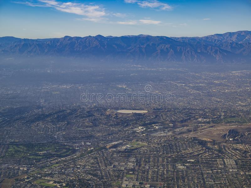 Aerial view of Monterey Park, Rosemead, view from window seat in royalty free stock photo