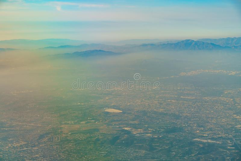 Aerial view of Monterey Park, Rosemead, view from window seat in. An airplane, California, U.S.A stock images