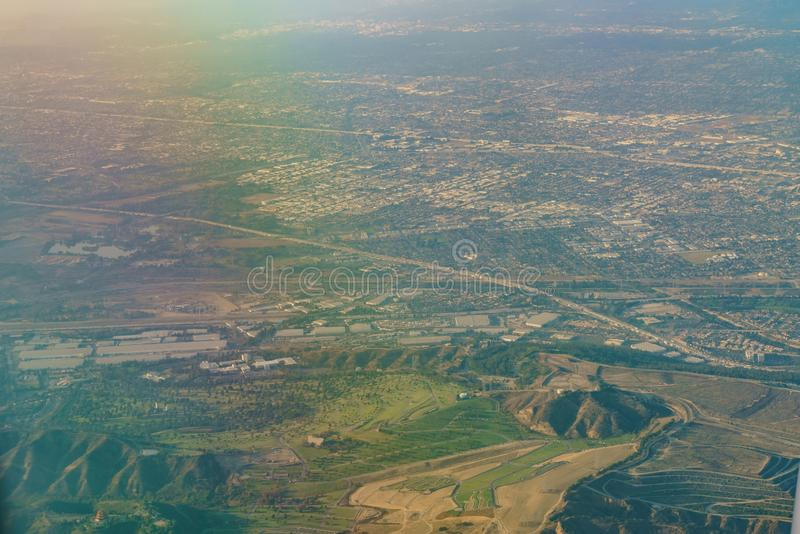 Aerial view of Monterey Park, Rosemead, view from window seat in. An airplane, California, U.S.A stock photos
