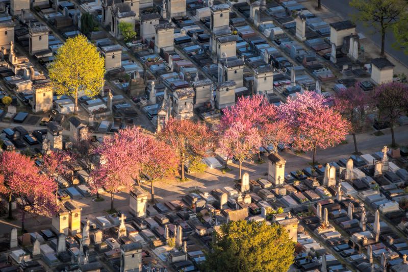 Aerial view of Montparnasse Cemetery in Paris, France royalty free stock photos