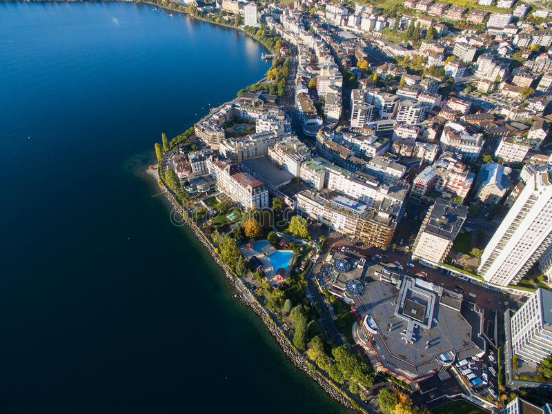 Aerial view of Montreux waterfront, Switzerland. Aerial view of Montreux waterfront Switzerland royalty free stock photo
