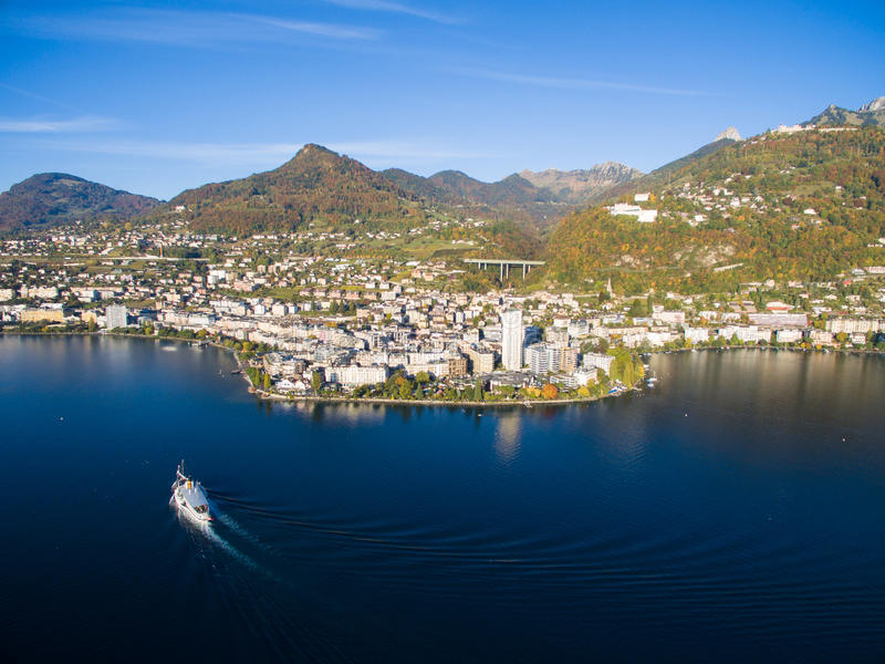 Aerial view of Montreux waterfront, Switzerland. Aerial view of Montreux waterfront Switzerland royalty free stock photos