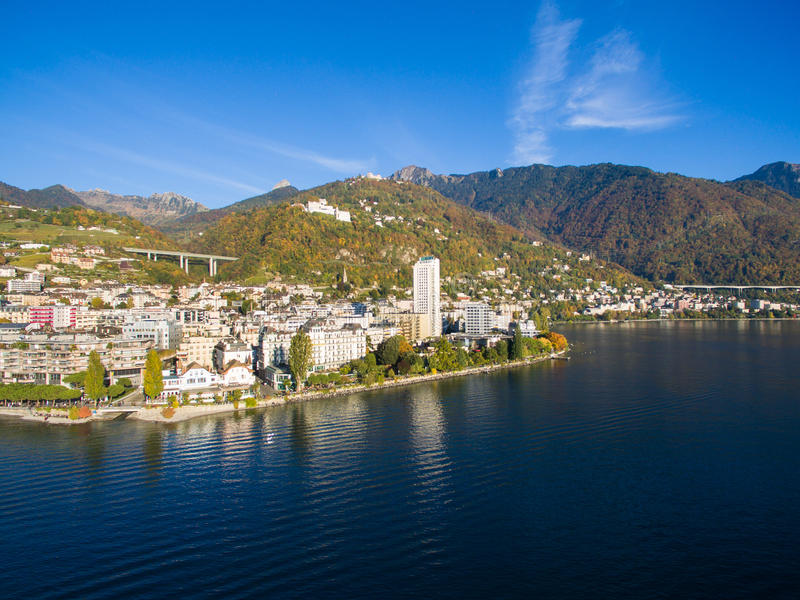 Aerial view of Montreux waterfront, Switzerland. Aerial view of Montreux waterfront Switzerland stock images