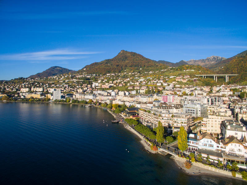 Aerial view of Montreux waterfront, Switzerland. Aerial view of Montreux waterfront Switzerland royalty free stock images