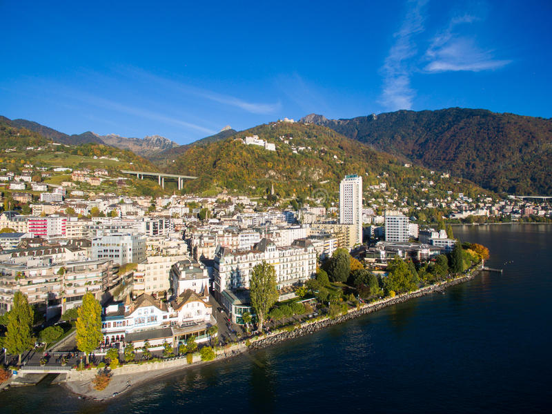 Aerial view of Montreux waterfront, Switzerland. Aerial view of Montreux waterfront Switzerland royalty free stock photography