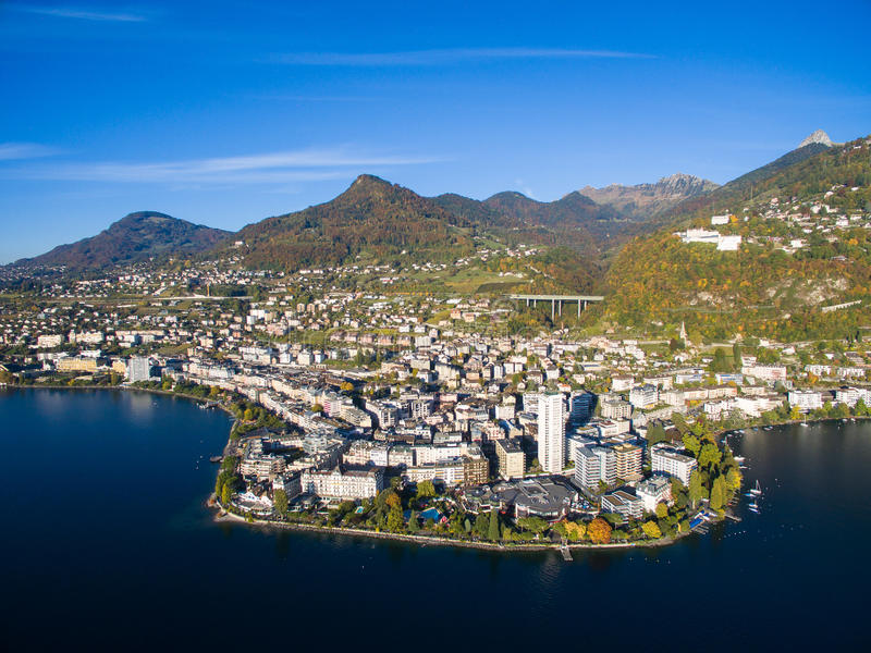 Aerial view of Montreux waterfront, Switzerland. Aerial view of Montreux waterfront Switzerland stock image