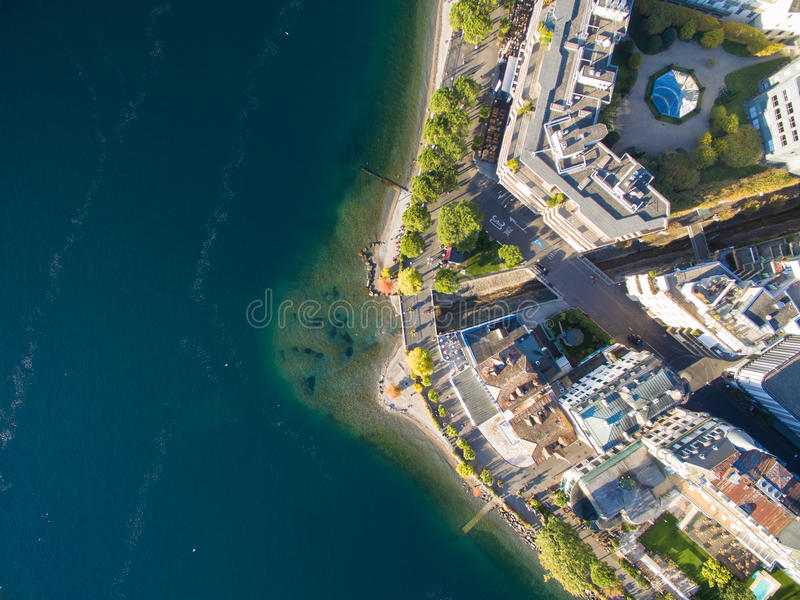 Aerial view of Montreux waterfront, Switzerland. Aerial view of Montreux waterfront Switzerland stock photos