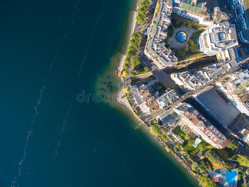 Aerial view of Montreux waterfront, Switzerland. Aerial view of Montreux waterfront Switzerland royalty free stock image