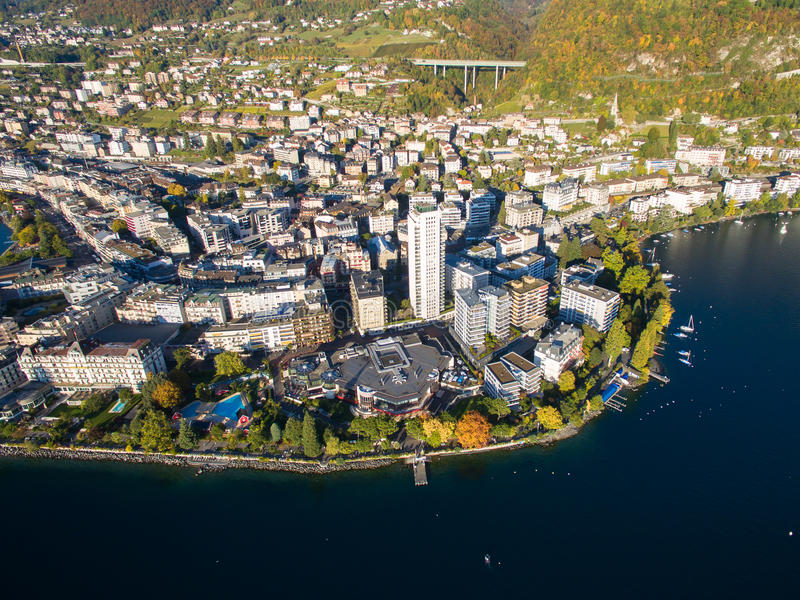 Aerial view of Montreux waterfront, Switzerland. Aerial view of Montreux waterfront Switzerland stock photography