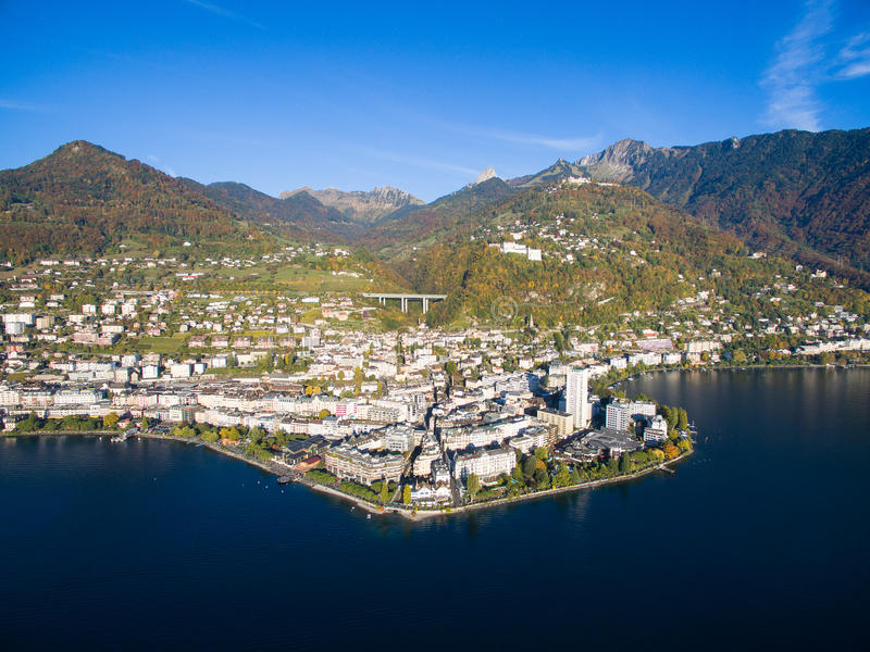 Aerial view of Montreux waterfront, Switzerland. Aerial view of Montreux waterfront Switzerland stock photo