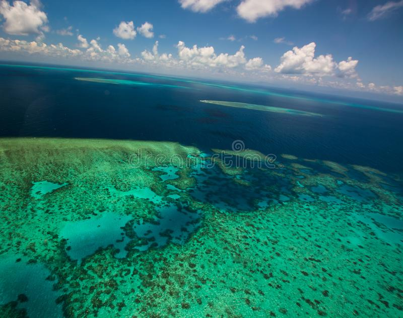 Aerial view of Moore Reef on the outer Great Barrier Reef. In Australia stock image