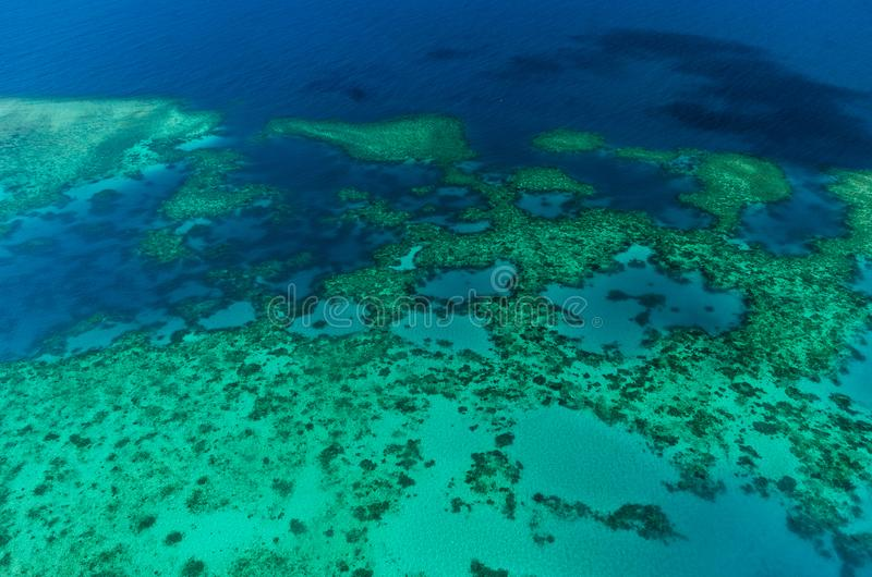 Aerial view of Moore Reef on the outer Great Barrier Reef. In Australia royalty free stock images