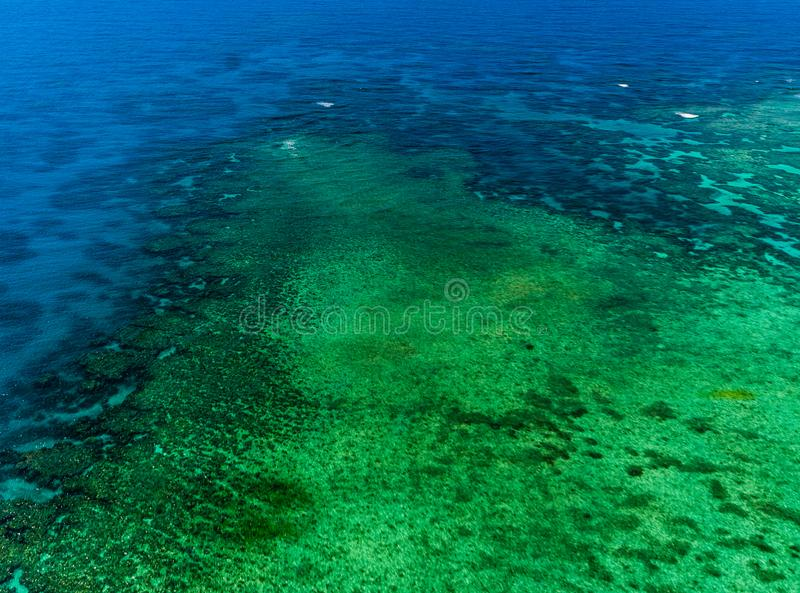Aerial view of Moore Reef on the outer Great Barrier Reef. In Australia stock images