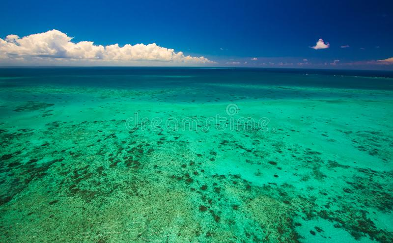 Aerial view of Moore Reef on the outer Great Barrier Reef. In Australia stock photo